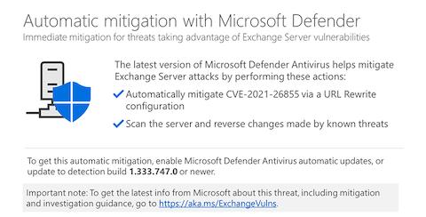 Microsoft DefenderAntivirusによるオンプレミスExchangeServerの脆弱性緩和策